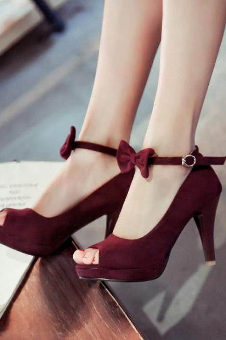 Cheap Vintage Peep Toe Stiletto Super High Heel Red Suede Ankle Strap Pumps