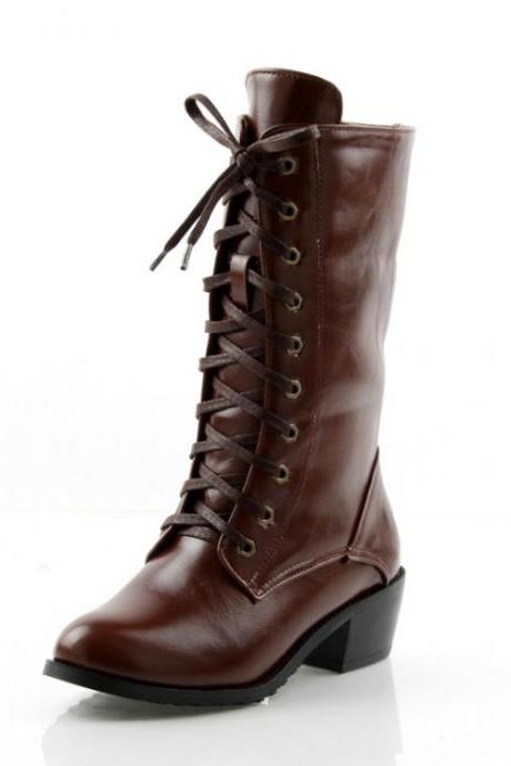 Fashion Round Toe Lace-up Chunky Mid Heel Brown PU Short Martens Boots
