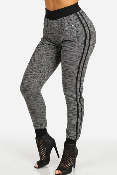 Elasticised Grey Knitted Casual Joggers Pants with Side Stripes and Pockets
