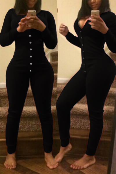 Fashion V Neck Long Sleeves Single-breasted Water Black Cotton Blend One-piece Skinny Jumpsuit
