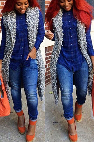 Fashion O Neck Grey Faux Fur Long Waistcoat