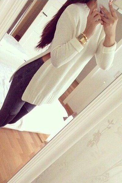 Cheap Fashion O Neck Long Sleeves Split White Long Pullover Sweater