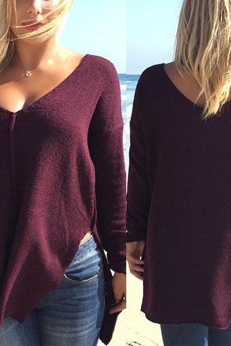 Sexy V Neck Long Sleeves Split Deep Red Polyester Regular Pullover Sweater