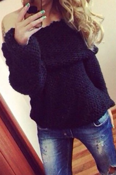 Fashion Bateau Neck Long Sleeves Black Cotton Blend Regular Pullover Sweater
