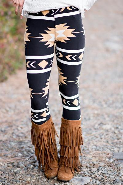 Casual Print Spandex Mid Leggings