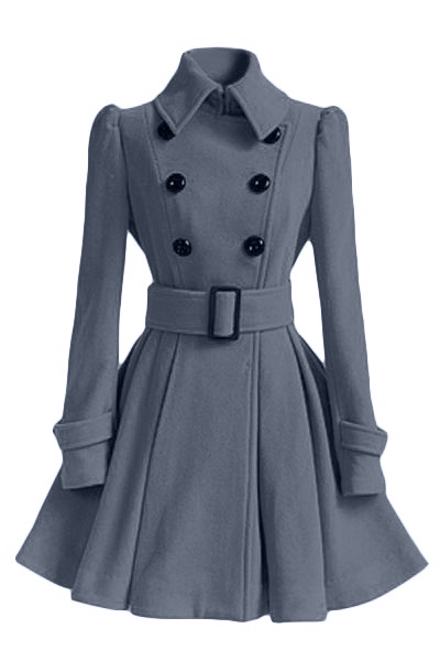 Fashion Turndown Collar Long Sleeves Double-breasted Asymmetrical Grey Cotton Blend Sheath Trench Coat(with Buckle Belt)