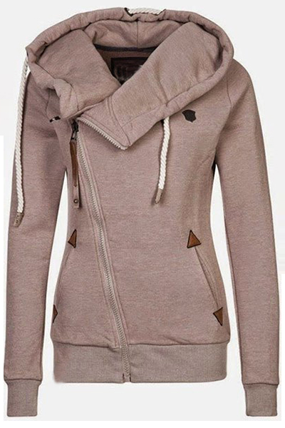 Casual Long Sleeves Khaki Cotton Blend Regular Pullover Hooded Sweat