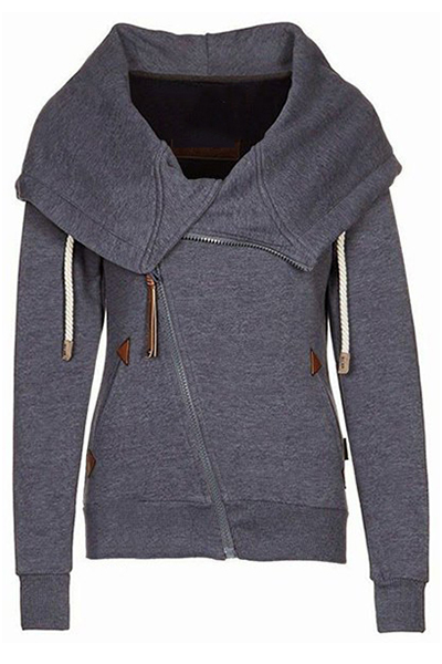 Casual Long Sleeves Deep Grey Cotton Blend Regular Pullover Hooded Sweat