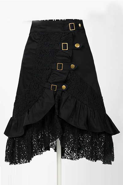 Fashion Buckles Decorated Lace Patchwork Asymmetrical Solid Black Nylon A Line Knee Length Skirt