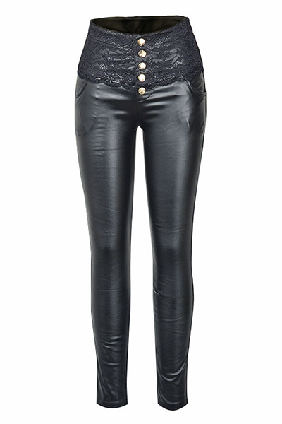 Fashion High Waist Elastic Button Fly Black Skinny Pants