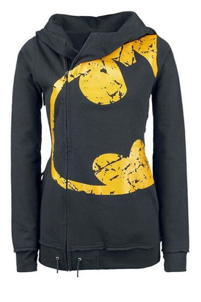 Casual Long Sleeves Yellow Print Black Cotton Blend Regular Hooded Pullover Sweat