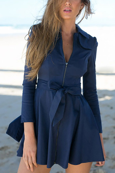 Fashion Turndown Collar Long Sleeves Zipper Design Blue Polyester Regular Trench Coat