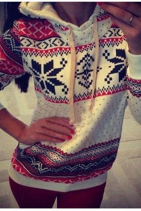 Fashion Long Sleeves Ethnic Print White Polyester Regular Hooded Pullover Sweat