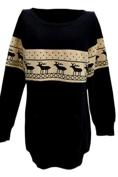 Casual Long Sleeves Patchwork Deer Print Black Cotton Blend Regular Pullover Sweat