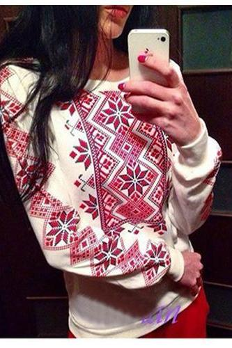 Fashion Gemotrical Print Long Sleeves Cotton Pullover