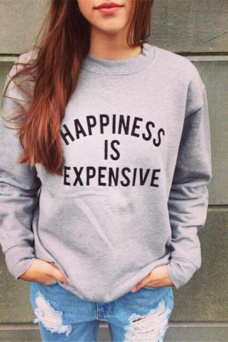 Casual O Neck Long Sleeves Letters Print Grey Blending Regular Pullover Sweat