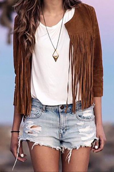 Fashion O Neck Half Sleeves Tassel Design Light Brown Coat
