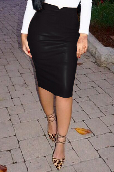 Fashion Solid Black PU Sheath Knee Length Skirt
