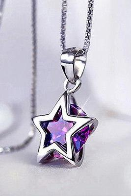 Women Silver Plated Zircon Star Crystal Pendant Necklace Chain Jewelry