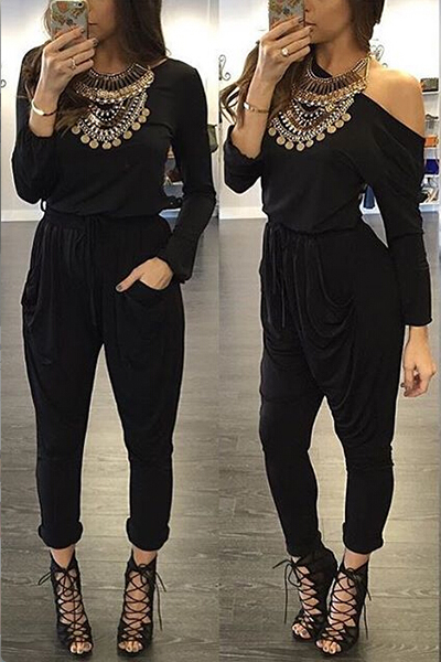 Fashion One Shoulder Half Sleeves Back Hollow-out Black Cotton Blend One-piece Jumpsuit
