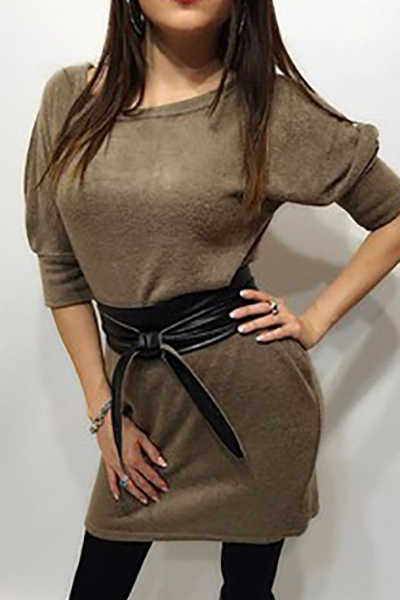 Casual O Neck Half Sleeves Grey Polyester Mini Dress(With Belt)