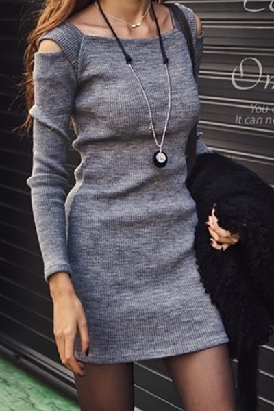Casual O Neck Off The Shoulder Long Sleeves Grey Cotton Blend Sheath Mini Dress