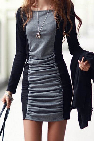Casual O Neck Long Sleeves Patchwork Cotton Blend Sheath Mini Dress