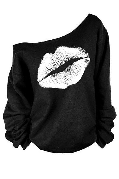Casual One Shoulder Long Sleeves Lip print White Pullover Sweat