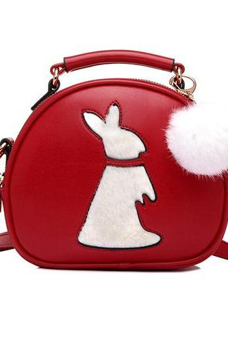 Women Fashion Rabbit Pattern Red PU Slanting Bag