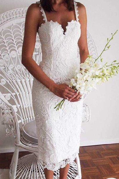 Sexy V Neck Spaghetti Strap Sleeveless Embroidered Design White Lace Sheath Mid Calf Dress