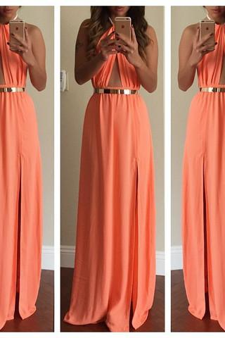 Cheap Sexy Halter Neck Tank Sleeveless Backless Side Split Light Orange Polyester Ankle Length Dress