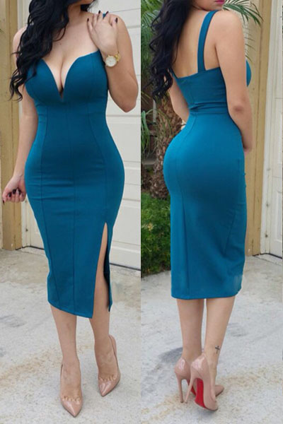Fashion Sexy V Neck Spaghetti Strap Sleeveless Polyester Sheath Knee Length Women Dress