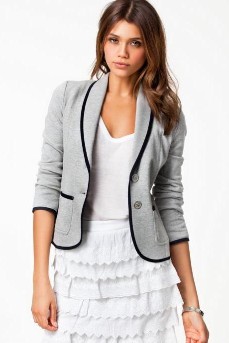 Cheap New Style Turndown Collar Long Sleeves Single-breasted Grey Blazer
