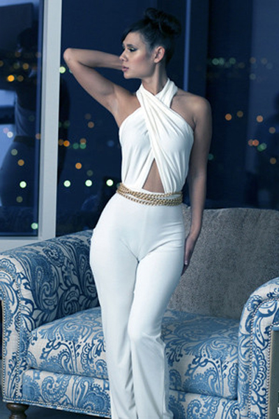 Fashion Solid Regular White Polyester Jumpsuits