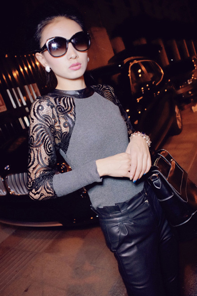 Cheap Sexy O Neck Long Sleeves Hollow-out Lace and PU Patchwork Grey Polyester T-shirt