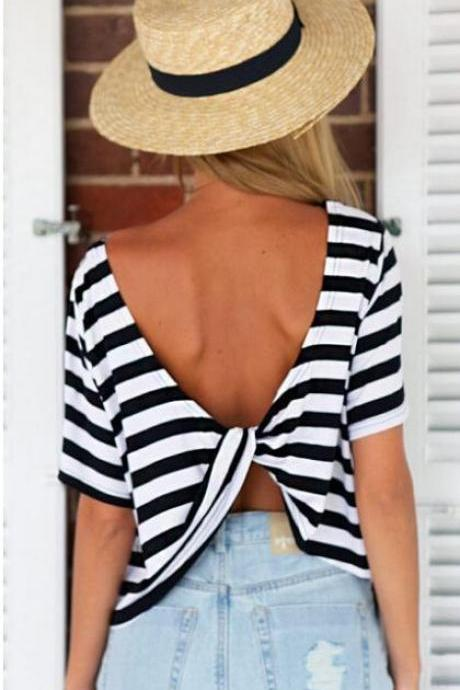 Black and White Stripes Top with a Back Twisted Knot Detail