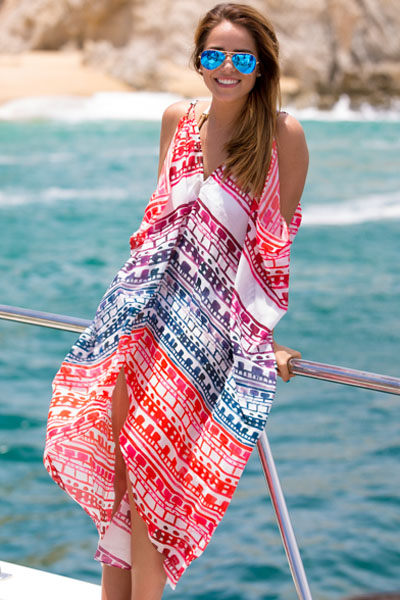 Cheap Patchwork Holiday Essential Print Cover-Up
