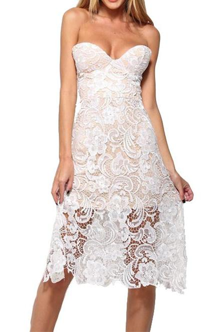 White Lace Sweetheart Knee Length Dress
