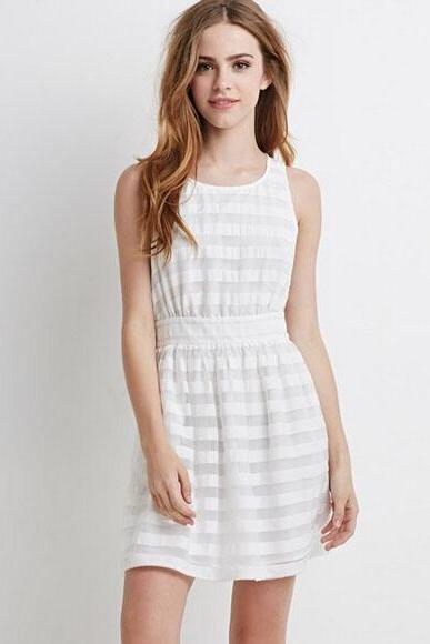 Stylish Ladies Women Stripe Fashion Casual Sleeveless Mini Party Dress ND