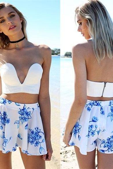 Stylish Ladies Women Two Pieces Strapless Padded Backless Solid Slim Crop Top And Print Casual Shorts Culottes ND