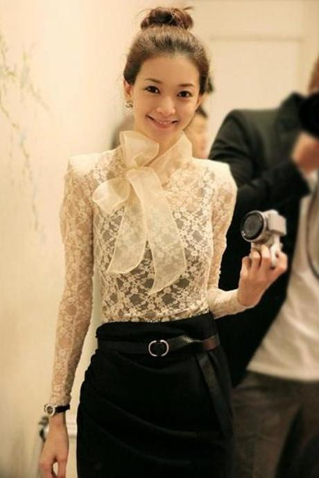 Stylish Lady Women's New Fashion Slim Sheer Lace Big Bow Stand Collar Bottoming Shirt ND