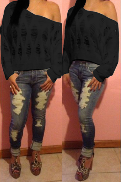 Casual O Neck Long Sleeves Hollow-out Black Cotton Blend Sweater