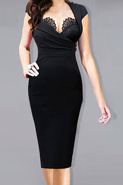 Fashion V Neck Short Sleeves Lace Patchwork Black Spandex Sheath Knee Length Pencil Dress