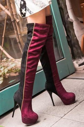 Fashion Winter Round Toe Slip On Patchwork Stiletto Super High Heel Red PU Over The Knee Cavalier Boots