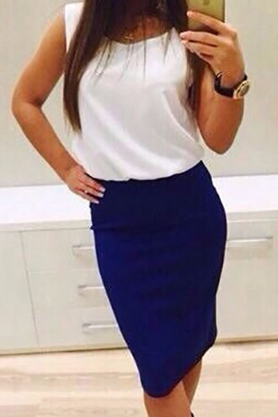 Fashion O Neck Tank Sleeveless Blue Polyester Sheath Knee Length Dress