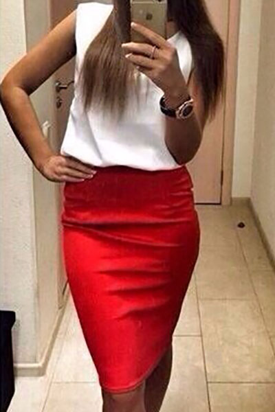Fashion O Neck Tank Sleeveless Red Polyester Sheath Knee Length Dress