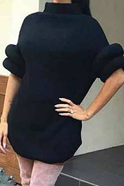 Fashion Turtleneck Half Sleeves Side Split Black Acrylic Pullover Sweater Dress