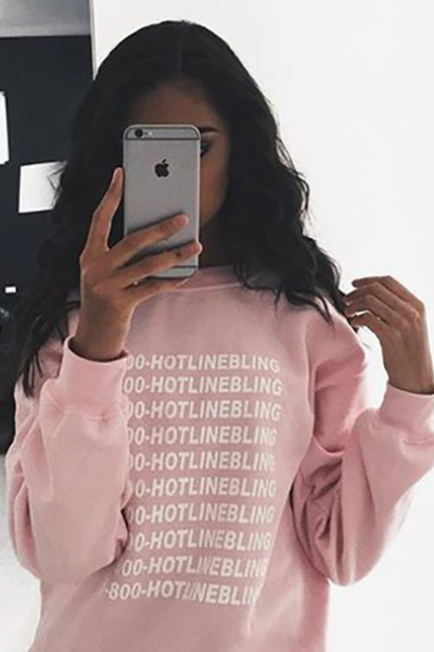 Casual O Neck Long Sleeves Letter Print Pink Cotton Blend Pullover Sweat(Fleece Inside)