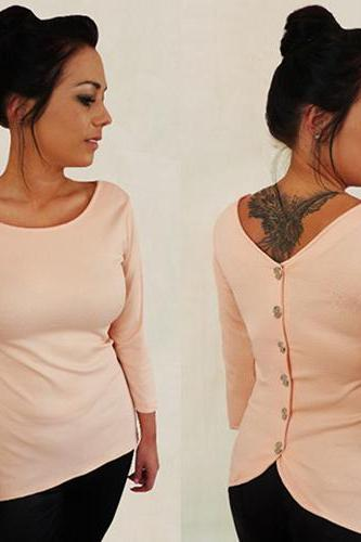 Fashion O Neck Long Sleeves Back Button Pink Polyester T-shirt