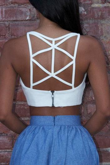 White Cutout Back Zipper Closure Crop Top ROS